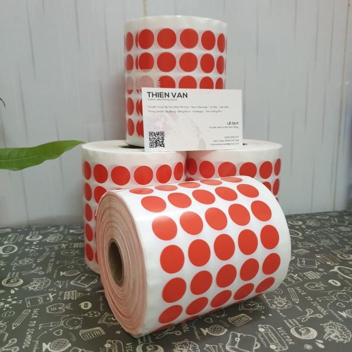 tem tròn dán lỗi màu đỏ 1.5cm 2cm1