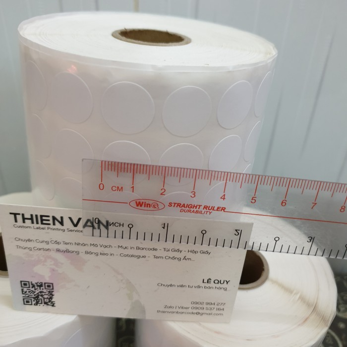 tem tròn dán lỗi màu trắng 1.5cm 2cm4