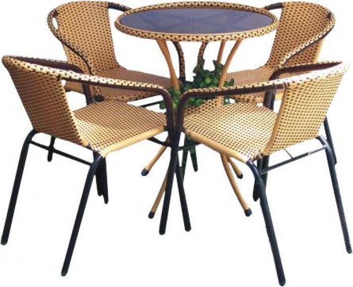 bàn ghế cafe mây nhựa giá rẻ tại xưởng sản xuất HGH 12890
