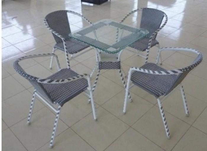 bàn ghế cafe mây nhựa giá rẻ tại xưởng sản xuất HGH 1296