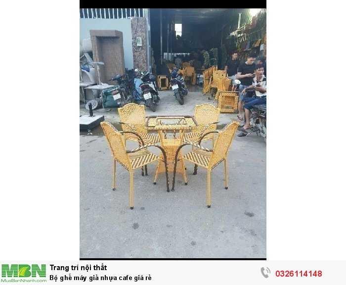 Bộ ghế mây giả nhựa cafe giá rẻ3