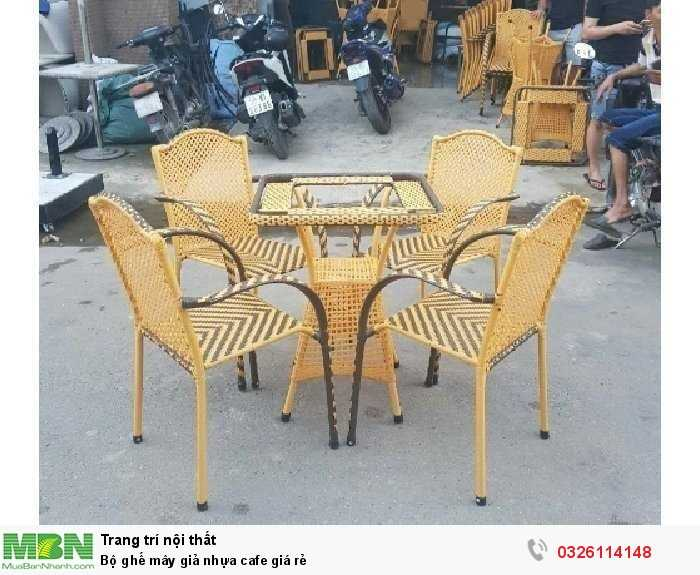 Bộ ghế mây giả nhựa cafe giá rẻ4