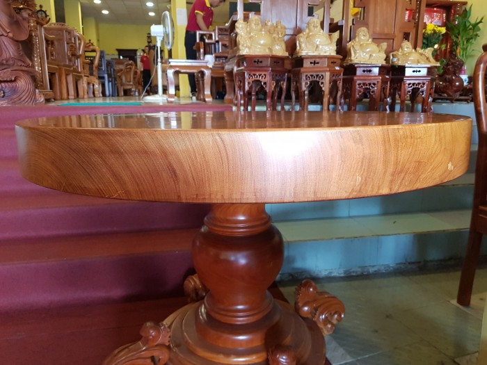 Mặt bàn ăn tròn nguyên tấm 1,2m x dày 12cm2