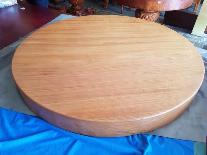 Mặt bàn ăn tròn nguyên tấm gõ đỏ 1,3m x14cm5