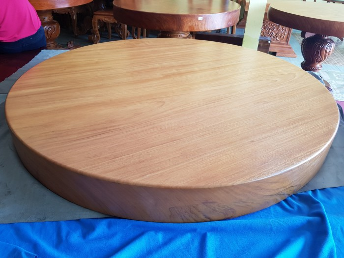 Mặt bàn ăn tròn nguyên tấm gõ đỏ 1,3m x14cm4