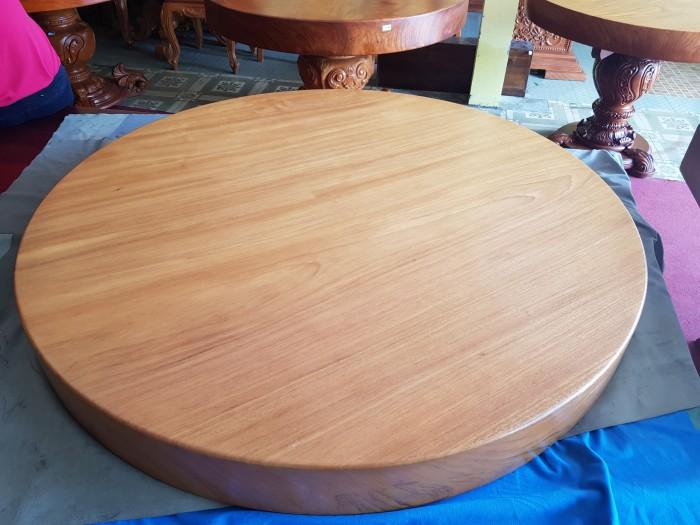 Mặt bàn ăn tròn nguyên tấm gõ đỏ 1,3m x14cm7
