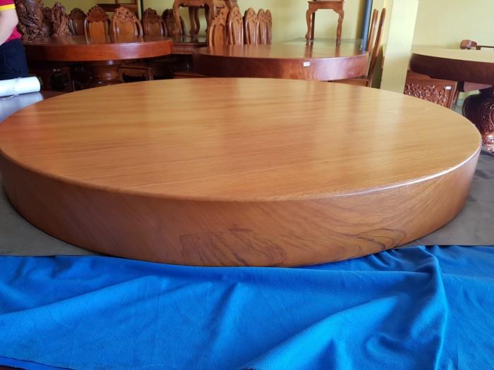 Mặt bàn ăn tròn nguyên tấm gõ đỏ 1,3m x14cm0