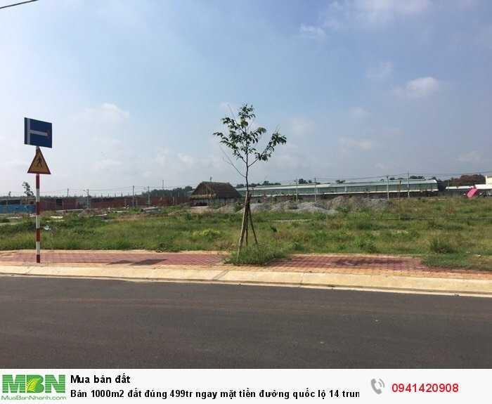 Bán 1000m2 đất đúng 499tr ngay mặt tiền đường quốc lộ 14 trung tâm hành chính huyện Chơn Thành