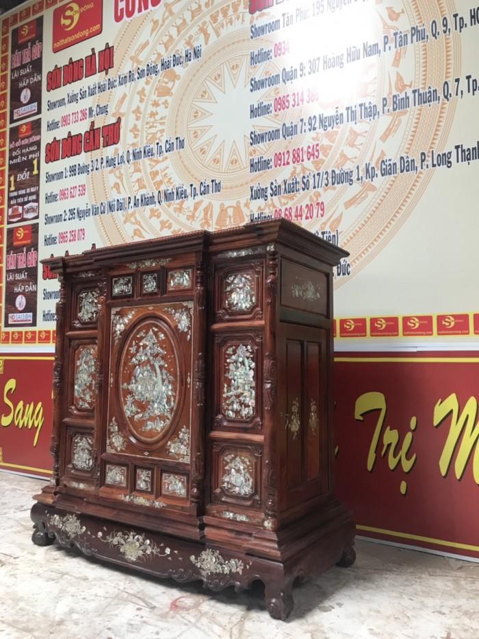 Tủ thờ cẩn ốc gỗ cẩm lai0