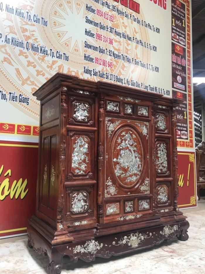 Tủ thờ cẩn ốc gỗ cẩm lai3