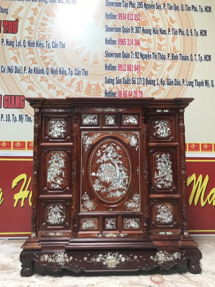 Tủ thờ cẩn ốc gỗ cẩm lai2