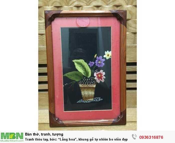 """Tranh thêu tay, bức: """"Lẵng hoa"""", khung gỗ tự nhiên bo viền đẹp0"""