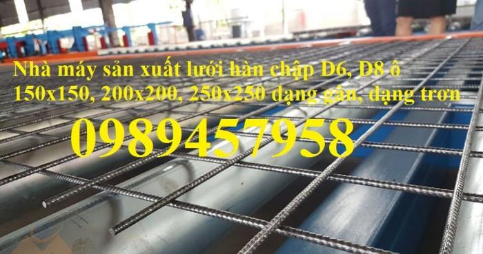 Sản xuất lưới thép hàn phi 8 ô 150x150, 200x200 ,Lưới D8 gân 200*2007