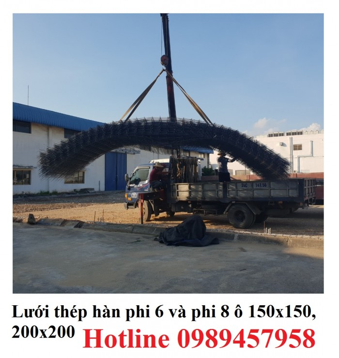 Sản xuất lưới thép hàn phi 8 ô 150x150, 200x200 ,Lưới D8 gân 200*2009