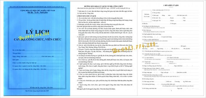 Sổ sơ yếu lý lịch mẫu 1a/TCTW0