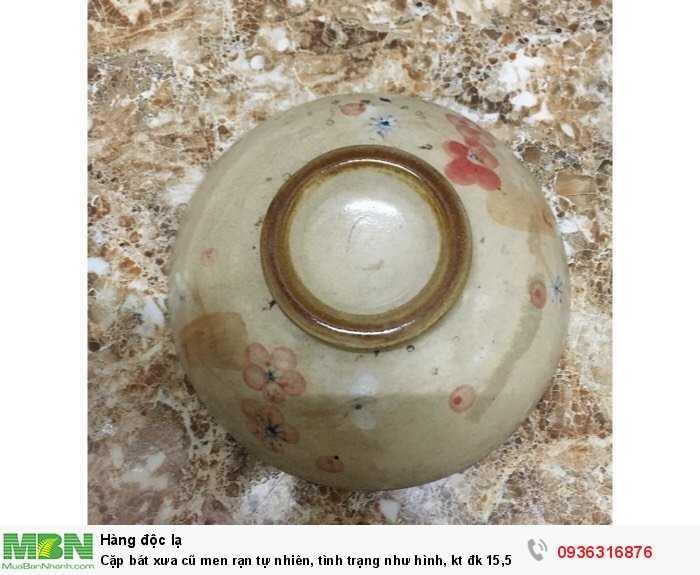 Cặp bát xưa cũ men rạn tự nhiên, tình trạng như hình, kt đk 15,5 cm3