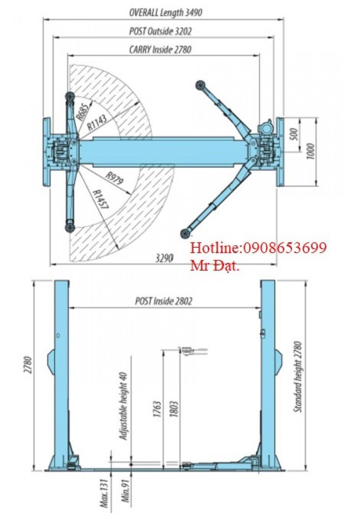Cầu nâng 2 trụ không cổng Heshbon-Hàn Quốc  giá rẻ toàn quốc,hàng có sẵn,alo giao ngay.2