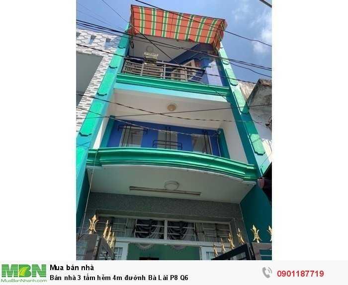 Bán nhà 3 tấm hẻm 4m đườnh Bà Lài P8 Q6
