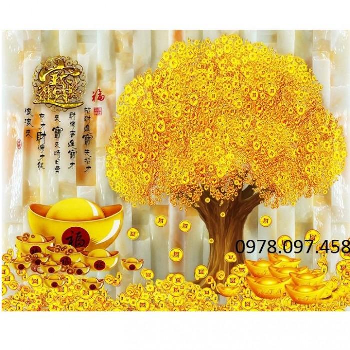 gạch tranh cây tiền vàng8