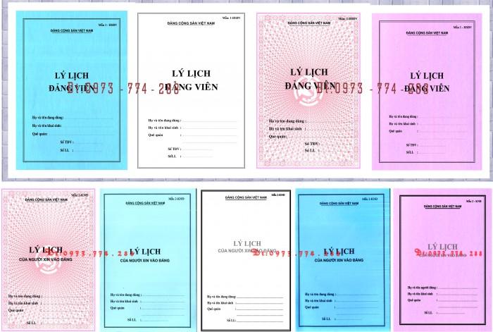 Xưởng in lý lịch của người xin vào Đảng (mẫu 2-KNĐ) và lý lịch Đảng viên mẫu (1-HSĐV)0