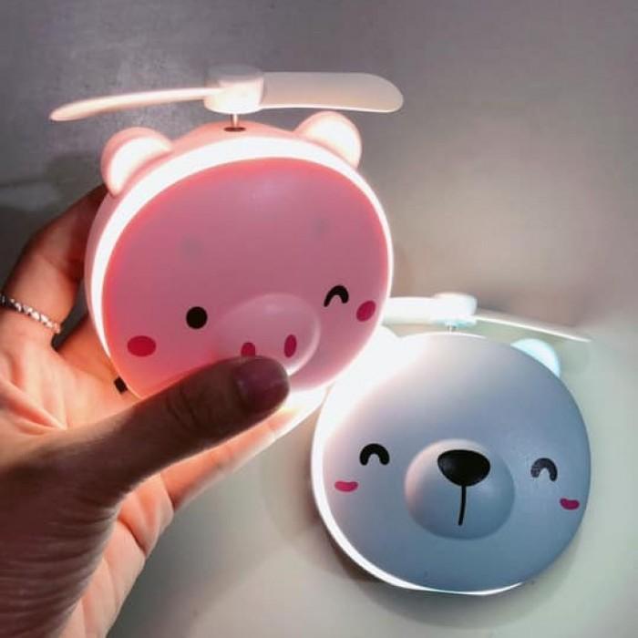 Gương soi mini hình thú kèm đèn, quạt siêu đáng yêu