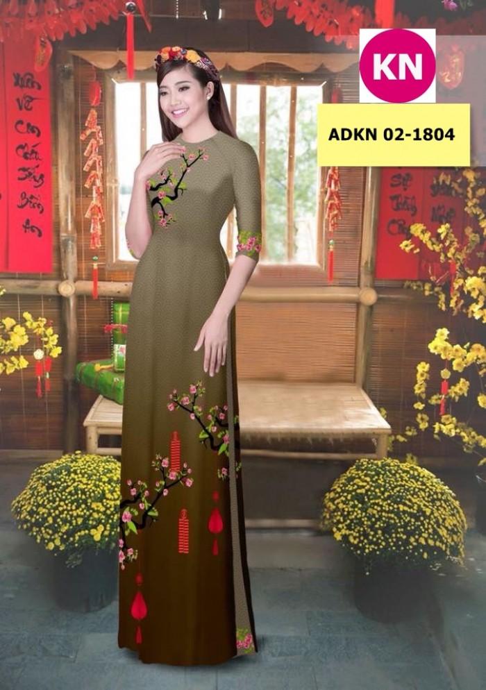 Vải bộ áo dài in đẹp ADKN 02-1804 (vải áo và vải quần )