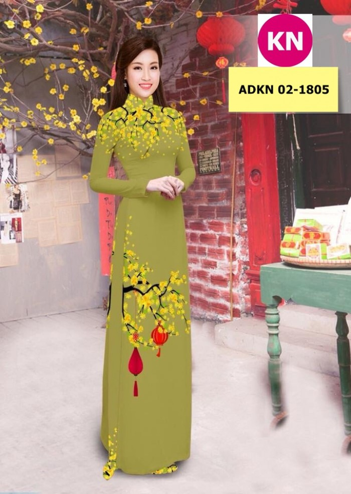 Vải bộ áo dài in đẹp ADKN 02-1805 (vải áo và vải quần )17