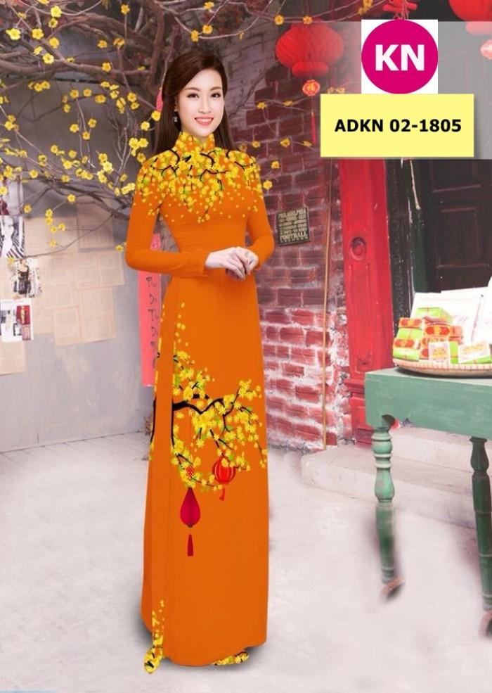 Vải bộ áo dài in đẹp ADKN 02-1805 (vải áo và vải quần )0