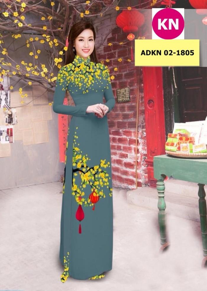 Vải bộ áo dài in đẹp ADKN 02-1805 (vải áo và vải quần )3