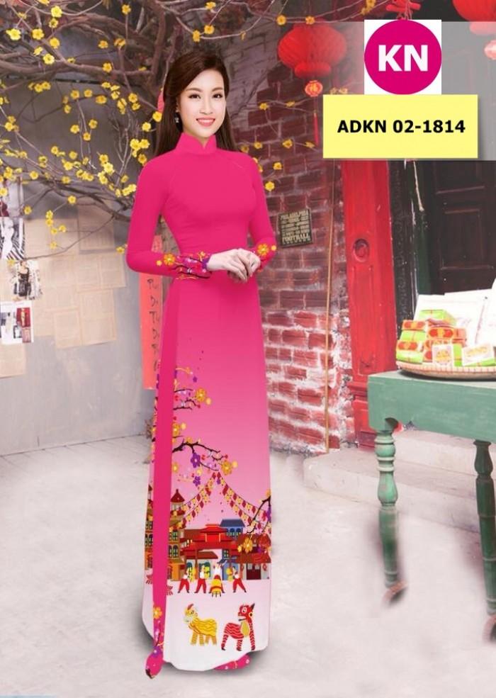 Vải bộ áo dài in đẹp ADKN 02-1814 (vải áo và vải quần )4