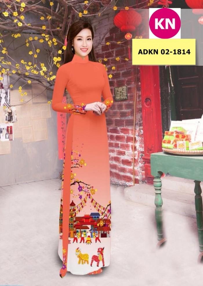 Vải bộ áo dài in đẹp ADKN 02-1814 (vải áo và vải quần )6
