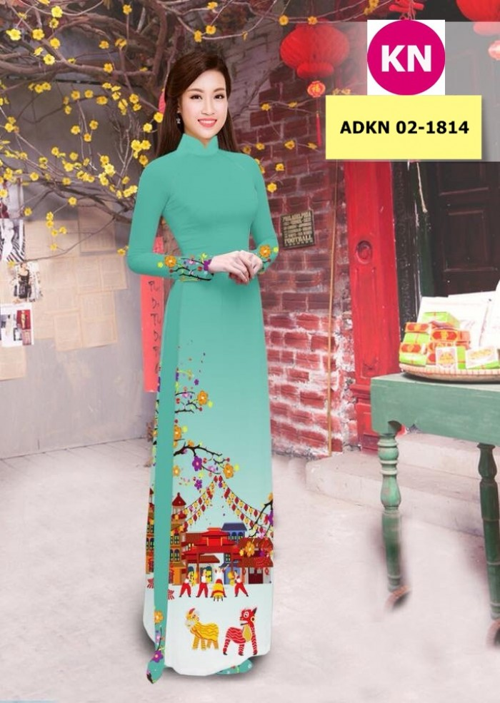 Vải bộ áo dài in đẹp ADKN 02-1814 (vải áo và vải quần )12