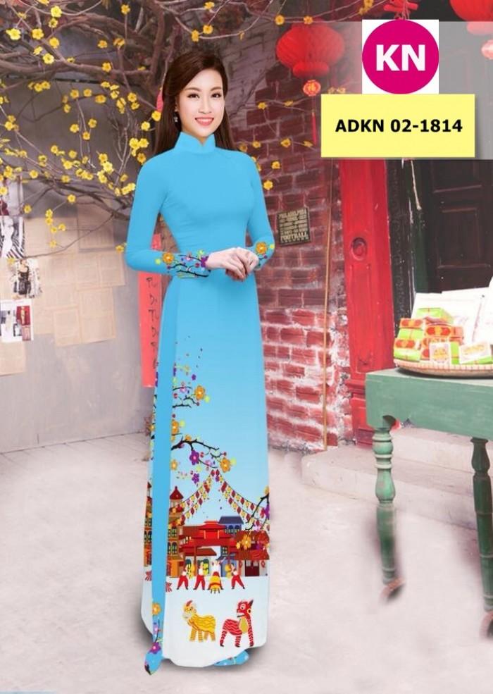 Vải bộ áo dài in đẹp ADKN 02-1814 (vải áo và vải quần )2