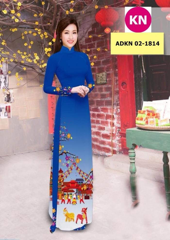 Vải bộ áo dài in đẹp ADKN 02-1814 (vải áo và vải quần )1