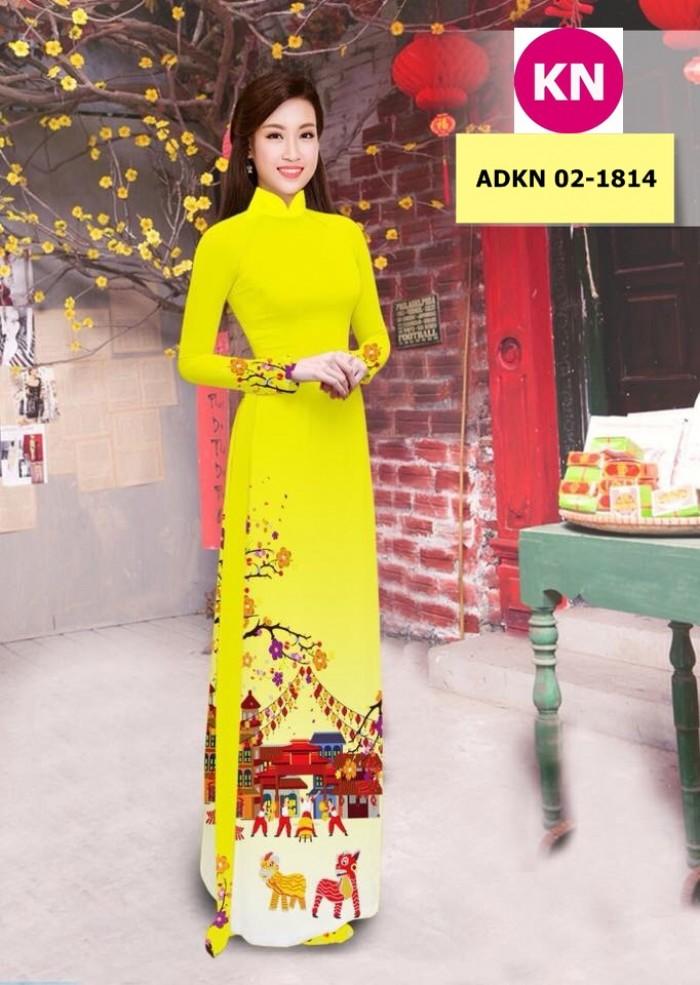 Vải bộ áo dài in đẹp ADKN 02-1814 (vải áo và vải quần )0