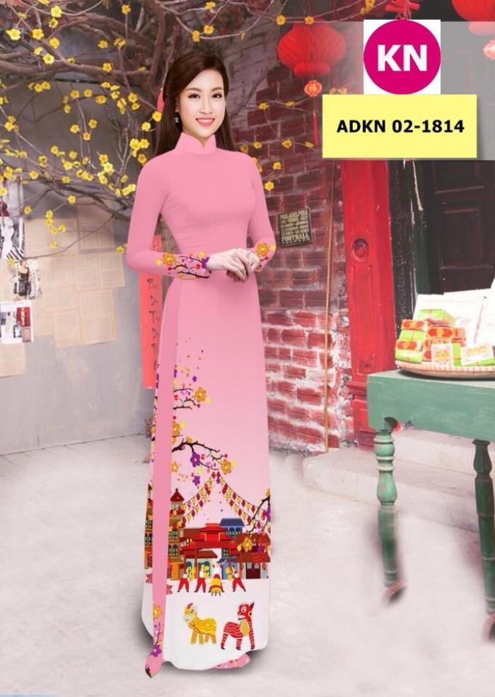 Vải bộ áo dài in đẹp ADKN 02-1814 (vải áo và vải quần )9