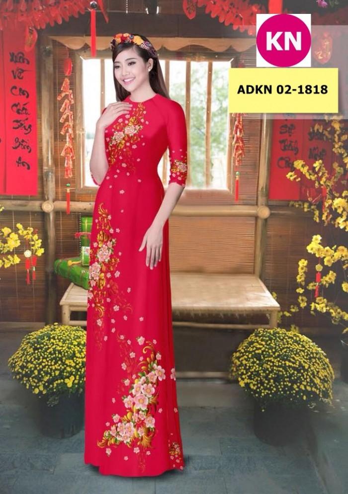Vải bộ áo dài in đẹp KN 02-1818 (vải áo và vải quần )5