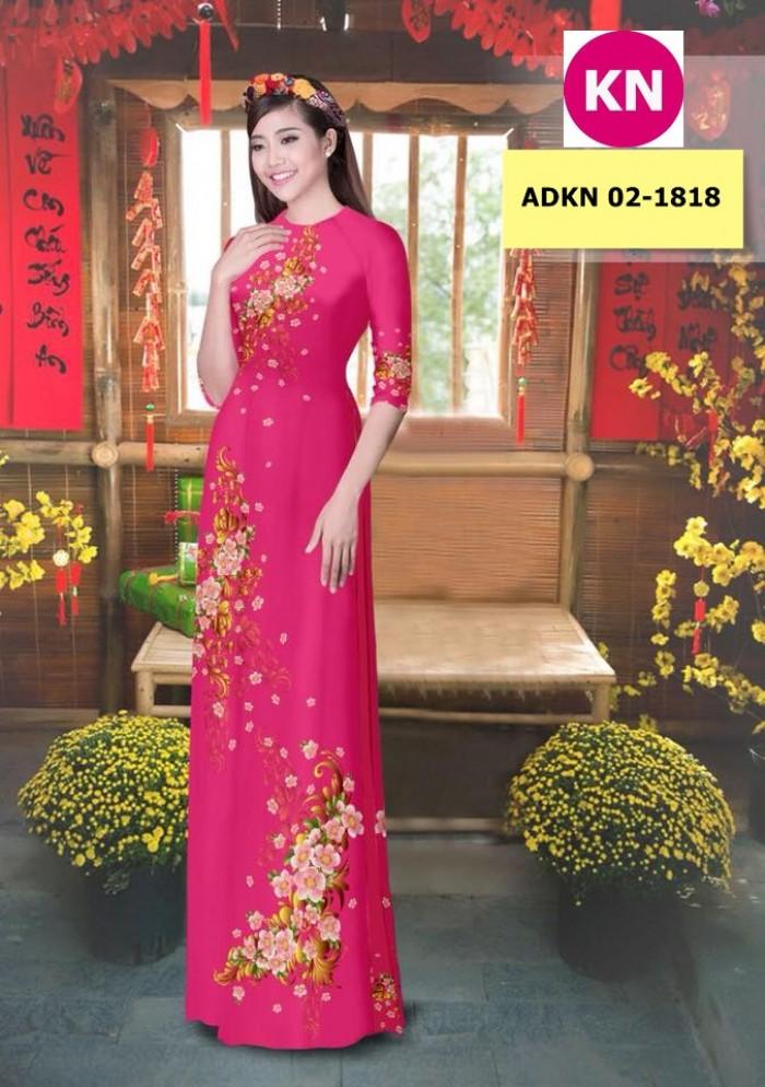 Vải bộ áo dài in đẹp KN 02-1818 (vải áo và vải quần )3
