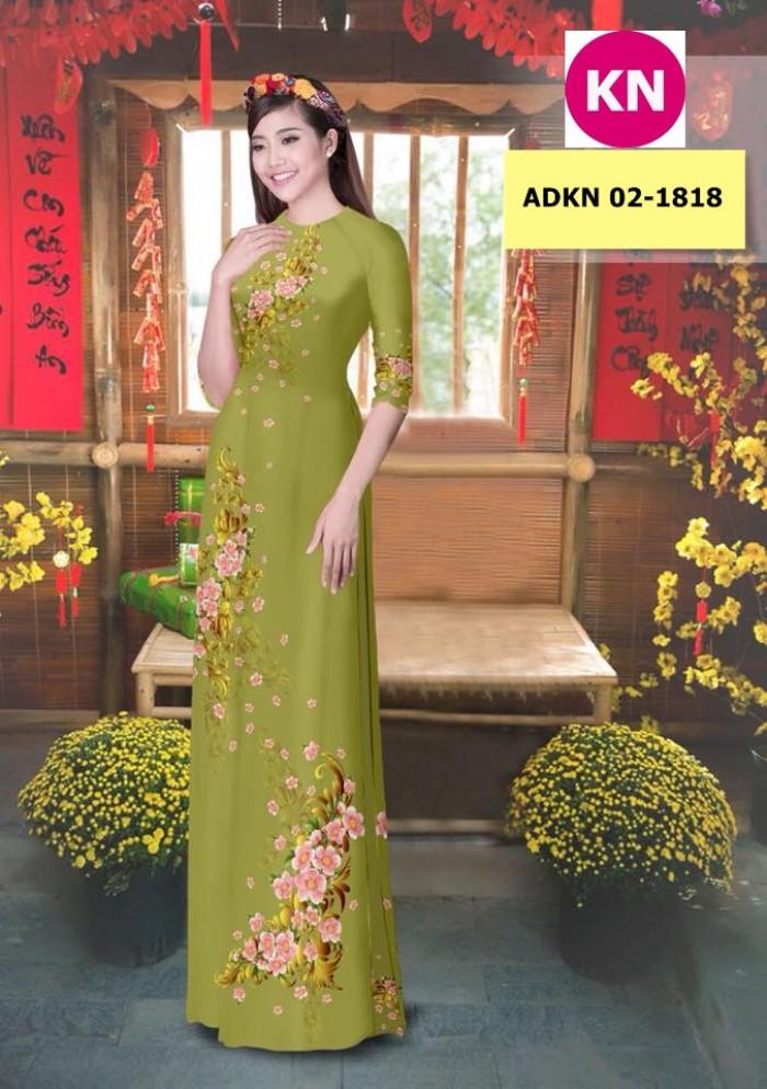 Vải bộ áo dài in đẹp KN 02-1818 (vải áo và vải quần )10