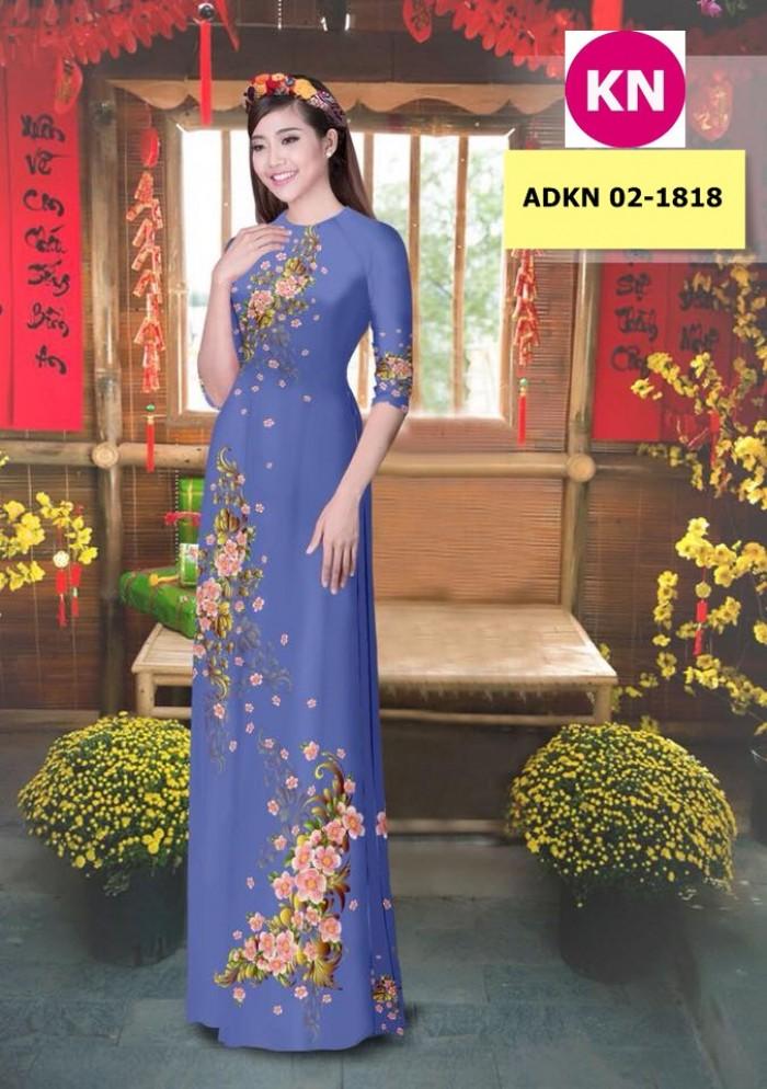 Vải bộ áo dài in đẹp KN 02-1818 (vải áo và vải quần )7