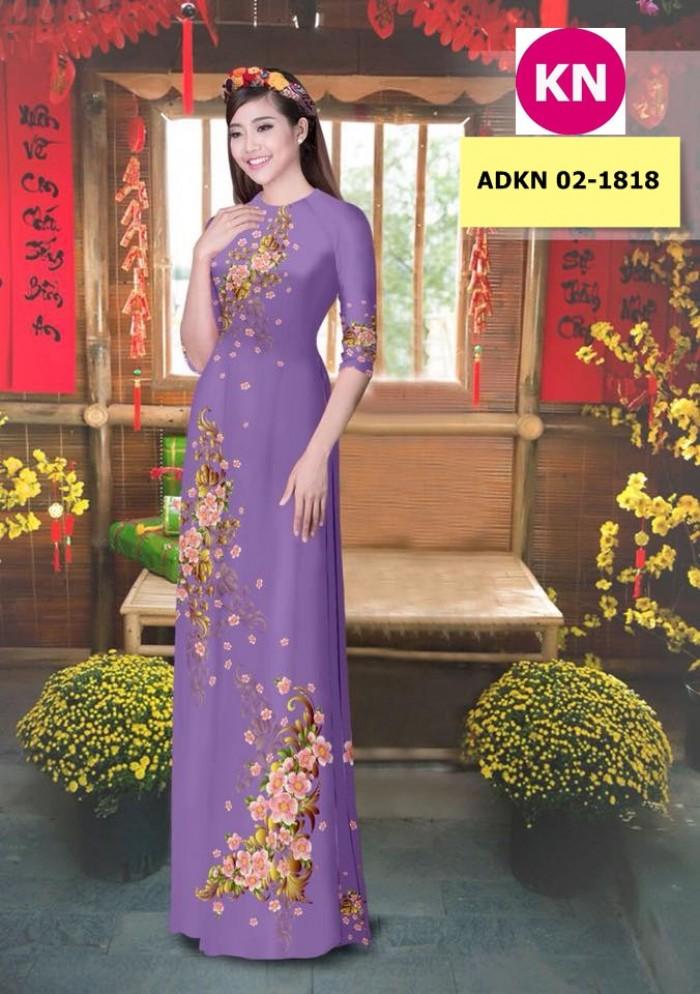 Vải bộ áo dài in đẹp KN 02-1818 (vải áo và vải quần )6