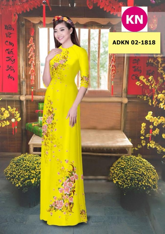 Vải bộ áo dài in đẹp KN 02-1818 (vải áo và vải quần )1