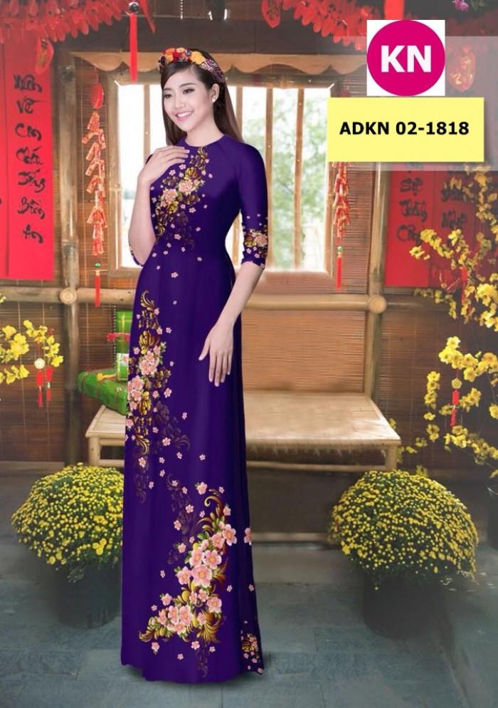 Vải bộ áo dài in đẹp KN 02-1818 (vải áo và vải quần )2
