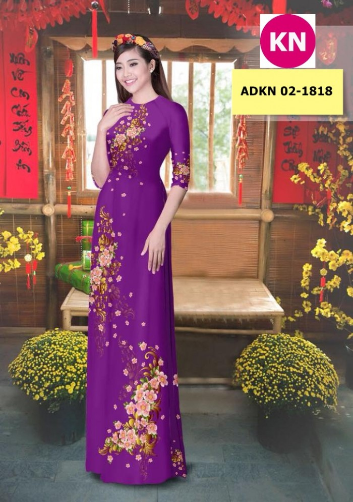 Vải bộ áo dài in đẹp KN 02-1818 (vải áo và vải quần )0