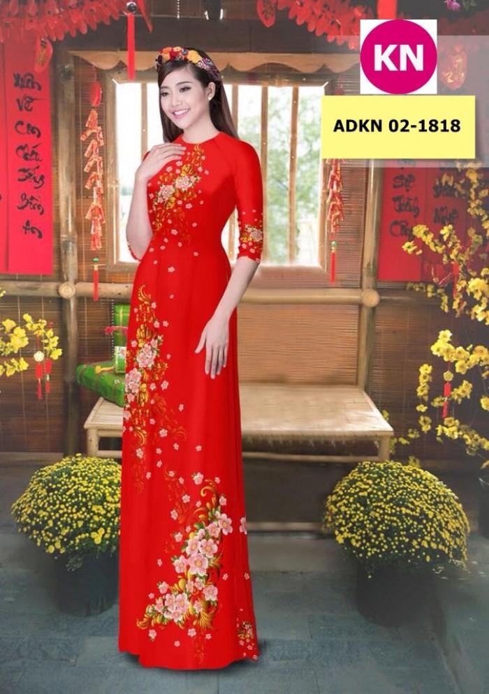Vải bộ áo dài in đẹp KN 02-1818 (vải áo và vải quần )4