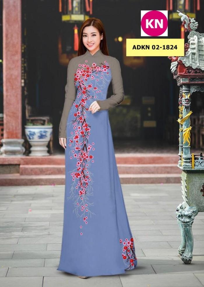 Vải bộ áo dài in đẹp ADKN 02-1824 (vải áo và vải quần )3
