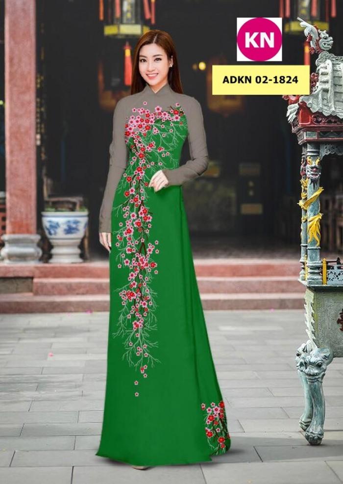Vải bộ áo dài in đẹp ADKN 02-1824 (vải áo và vải quần )4