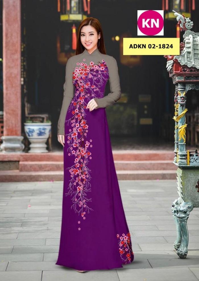 Vải bộ áo dài in đẹp ADKN 02-1824 (vải áo và vải quần )9