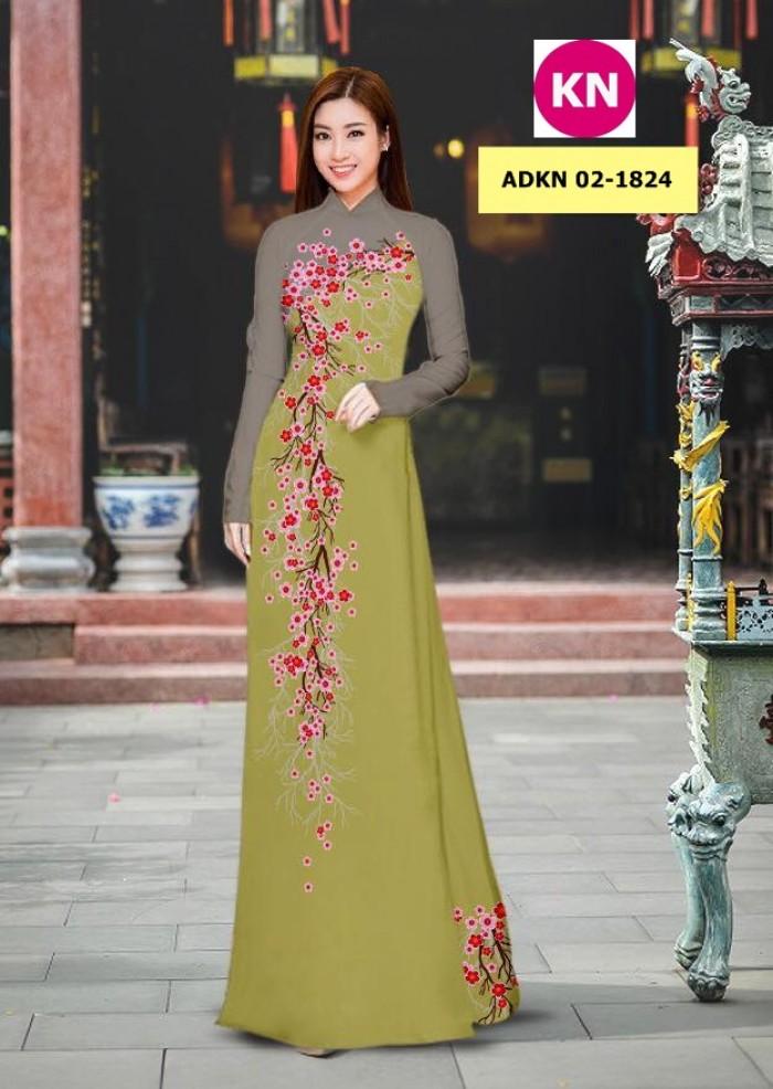 Vải bộ áo dài in đẹp ADKN 02-1824 (vải áo và vải quần )10