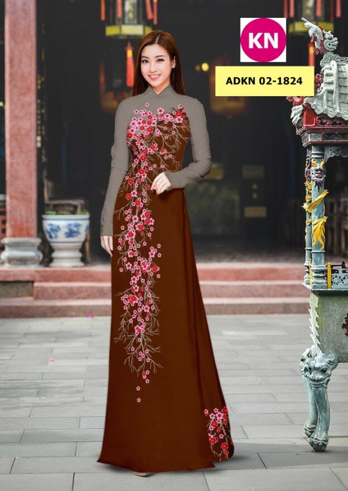 Vải bộ áo dài in đẹp ADKN 02-1824 (vải áo và vải quần )5